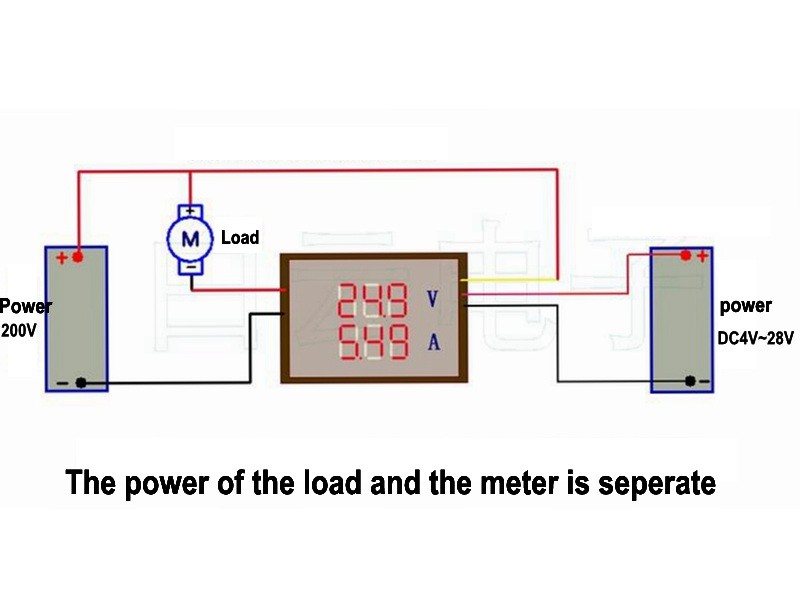 dc panel meter wiring digital 4 bit dc 200v 0 10a voltmeter ammeter panel red dc ampere meter wiring diagram