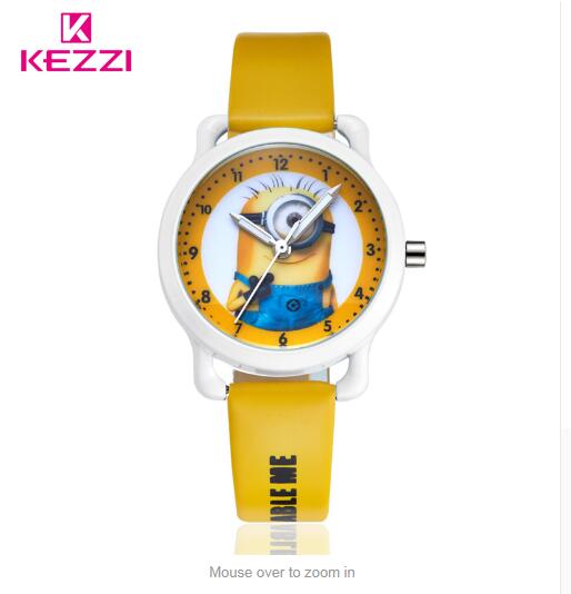 New Arrive children leather strap Cartoon watch Despicable Me Minions style quartz Waterproof kids watch Enfants Montre k