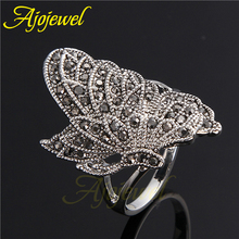 Ajojewel Brand 7 9 Unique Elegant Vintage New Style Silver Color Black CZ Diamond Butterfly Ring