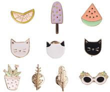 X002 Free shipping Cute Fruit Cat Sunglass Leaf Orange Pot Ice cream Watermelon Brooch Pins,Fashion Jewelry Wholesale