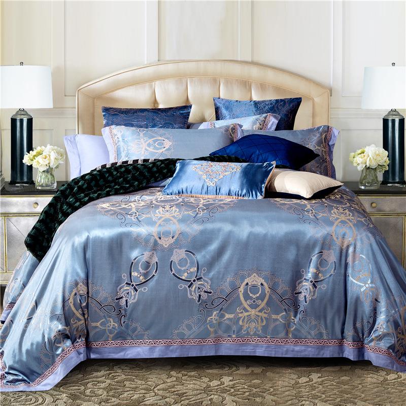 Luxury Silk Bedding Set Embroidery Bed Linens Tencel Satin