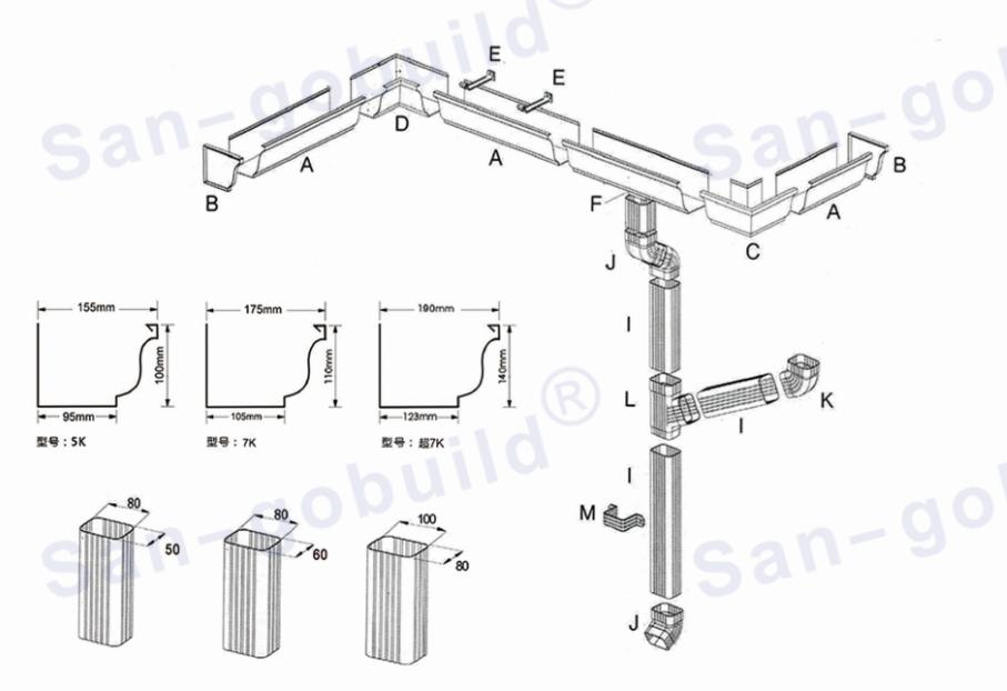 Lowes Metal Building Material Aluminum Rain Gutter