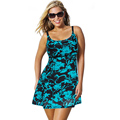 Plus Size One Piece Swimsuit Skirt 2017 Push Up Swimwear Women Dress Bathing Suit Large Size