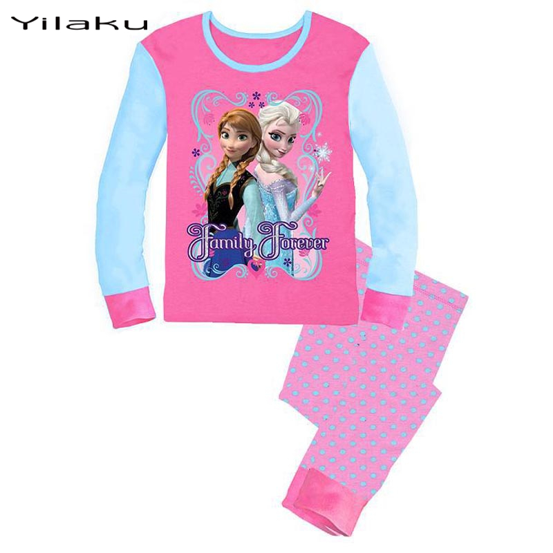 2016 Elsa Anna Children Pajamas Set Girls Character Sleepwear Pijamas Suits Baby Girls Kids Clothes Children