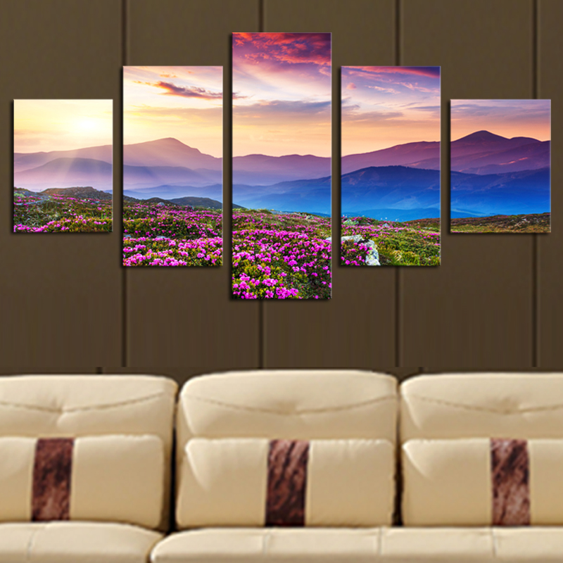 5 piece no frame the sunset and the mountain modern home wall decor canvas picture art hd print. Black Bedroom Furniture Sets. Home Design Ideas