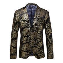 Вечерние мужские модные Роскошные Горячие MEIJIANA золотые продажи один пиджак 2018 Свадебный Блейзер костюм однобортный костюм платье(Китай)