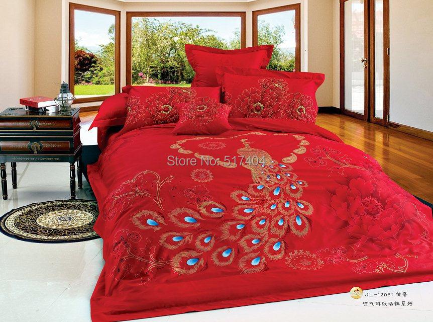 Fashion Peacock Design Bed Sheet King Size,200*240cm King