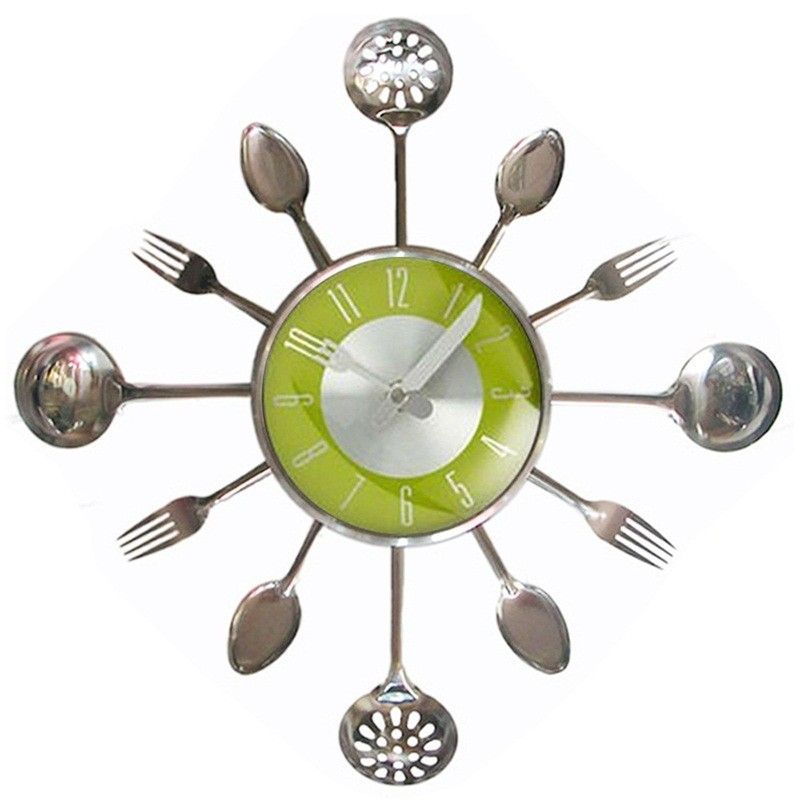 Wholesale 18inch Large Decorative Wall Clocks Metal Spoon