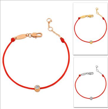Девочка роковой титан сталь браслет браслеты простота красный линия позолоченное золото кристалл браслеты для женщин