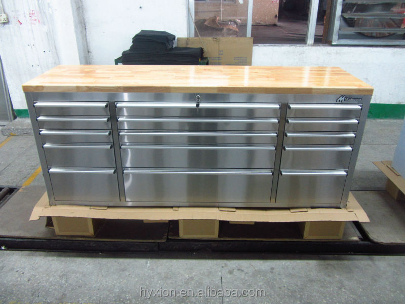 72 Inch 15 Drawer Stainless Steel Tool Chest With Fine