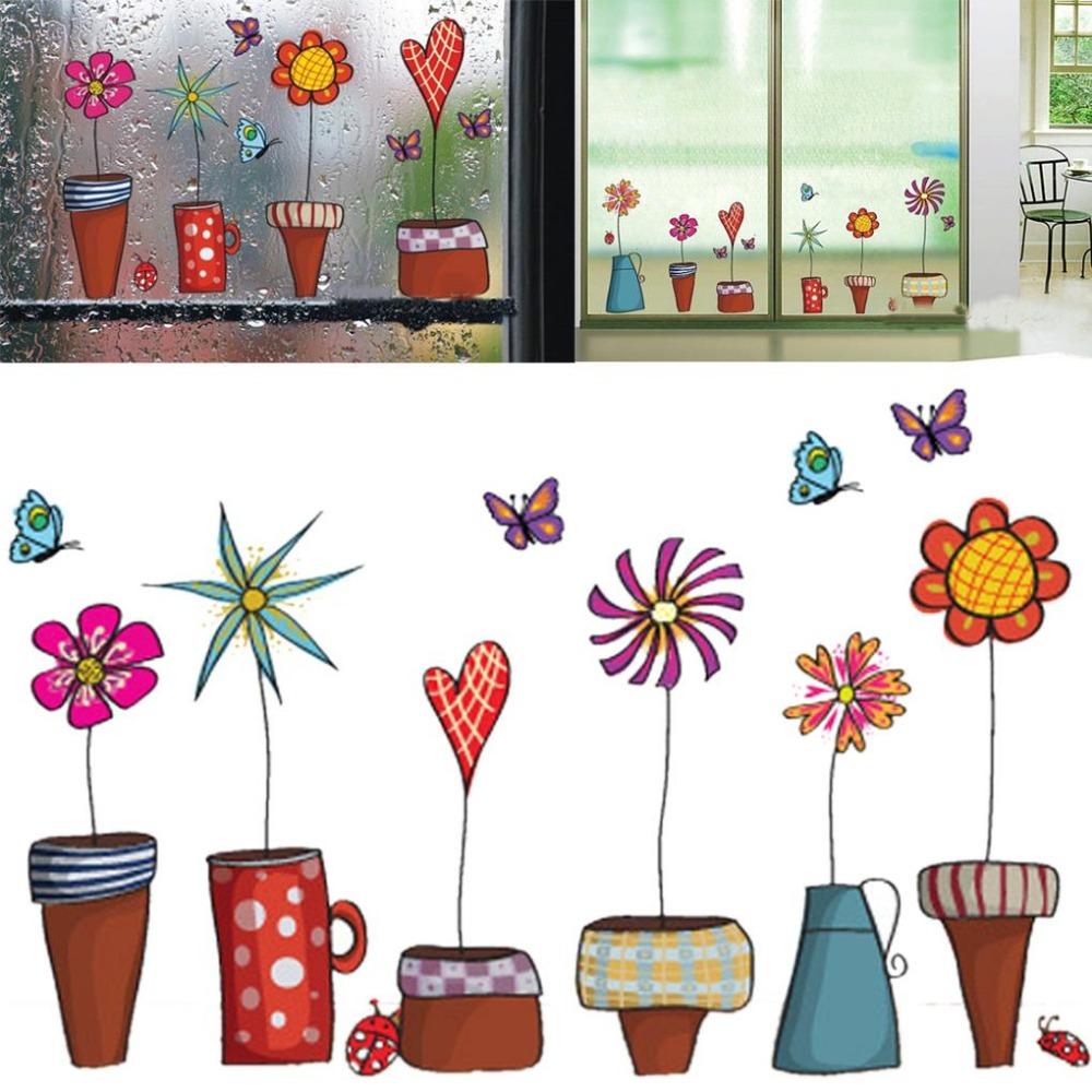 Glass Front Kids Room Decor: Cute Cartoon Flower Butterfly Wall Stickers DIY Decal