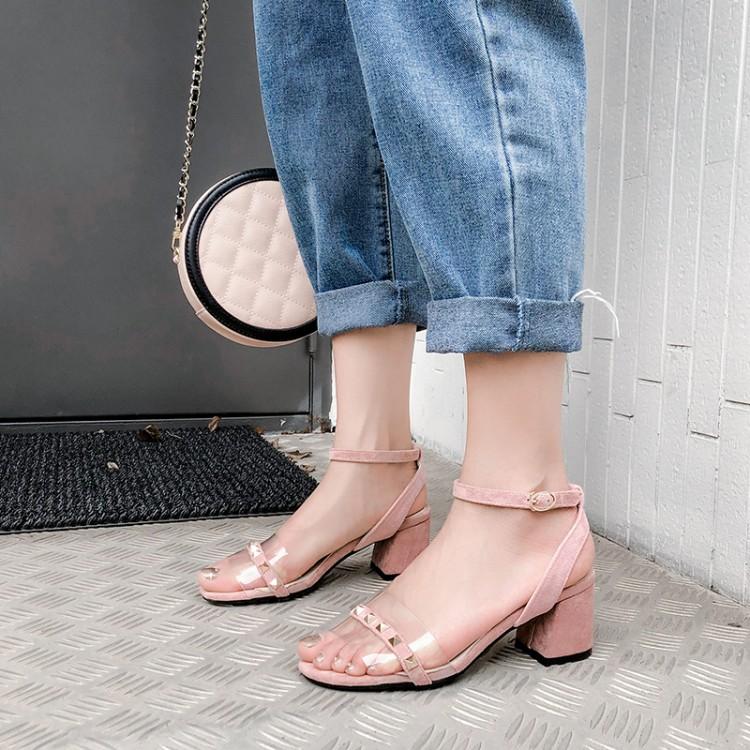 Большой размер 11, 12, 13, 14, 15, 16, босоножки на высоком каблуке Женская обувь женские летние прозрачные туфли с заклепками на толстом каблуке и о...(Китай)