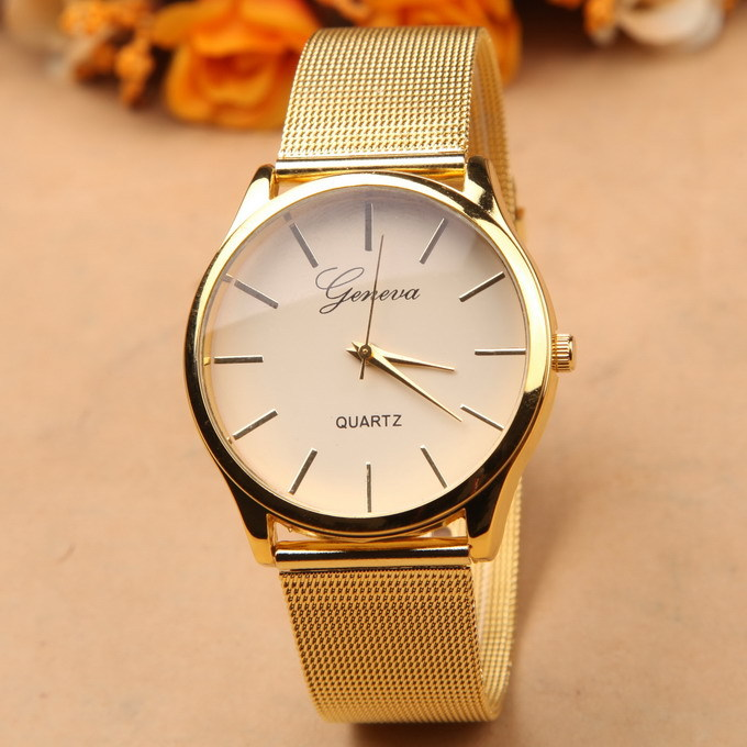 02567b85b84 Gold watch Full stainless steel woman fashion dress watches men ...