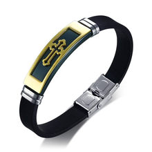 Мужской браслет с большим крестом ZORCVENS, винтажный браслет из нержавеющей стали и силикона, очаровательные аксессуары(Китай)