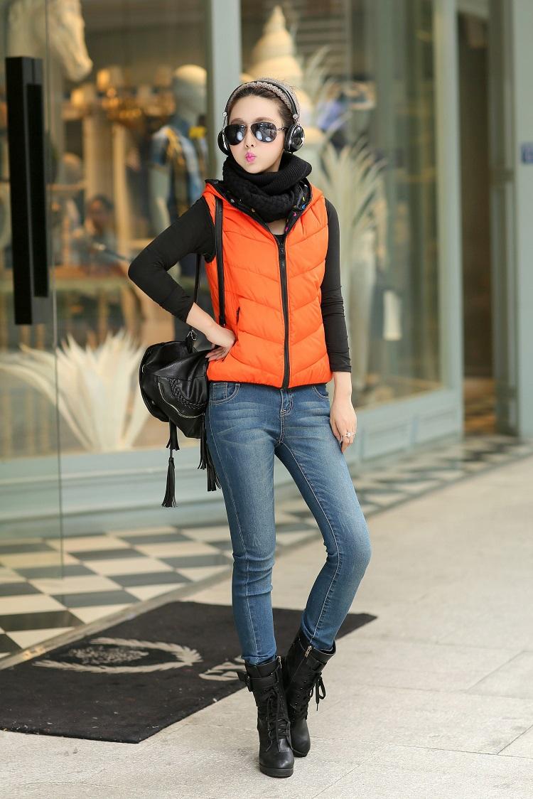 Осень и зима хлопок вниз жилет женщины приталенный позитивный и негативный два путей жилет жилет верхний верхняя одежда