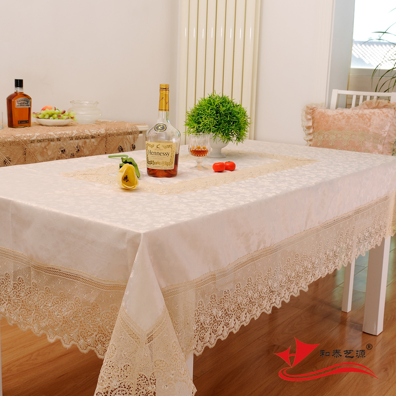 Hetaiyiyuan Beige Satin Tablecloth Upscale Luxury Modern