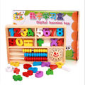 Smiling Face Early Educational Learning Wooden Montessori Material Toy Abacus Math Toys Clock Calculation Children WD41