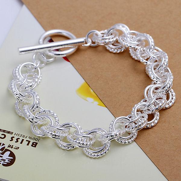 Оптовая продажа 925 стерлингового серебра круг браслеты женщины браслеты ювелирные изделия бесплатная доставка LKNSPCH023