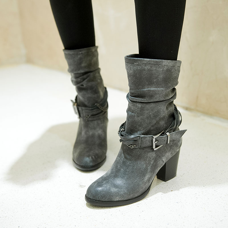 Grey Leather Ankle Boots For Womens  99c75d919
