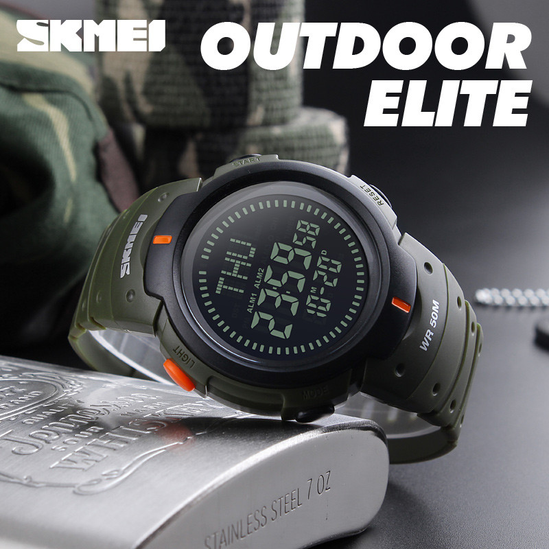 Skmei Sport Watch Fashion Outdoor World Time Summer Countdown Waterproof Digital Wristwatches Men Compass Military Watches 2019 Neither Too Hard Nor Too Soft Men's Watches