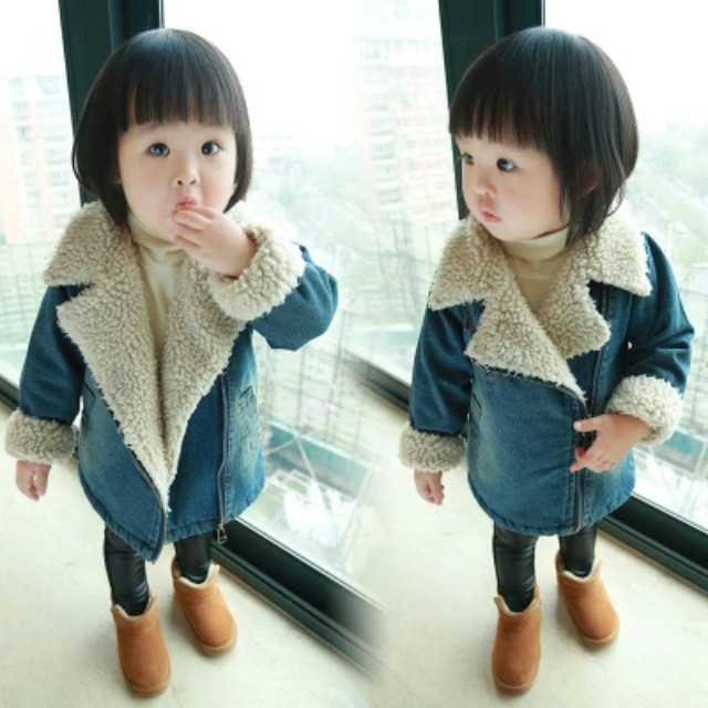 Girls Nagymaros collar denim coat and jacket boys fleece jackets children warm outerwear kids autumn winter