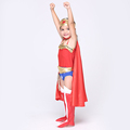 Superman baby girl dress cosplay costume hottest style with cloak leather kids halloween performance dance dress
