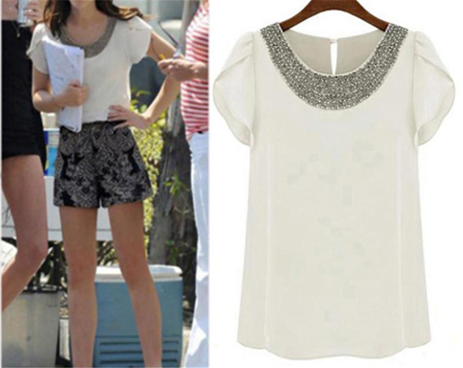 Новый 2015 мода женщины шифон с коротким рукавом рубашка свободного покроя топы широкий бусины блузка G285