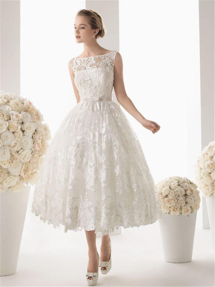 buy romantic robe de mariage scoop lace appliqued short wedding dress bridal. Black Bedroom Furniture Sets. Home Design Ideas