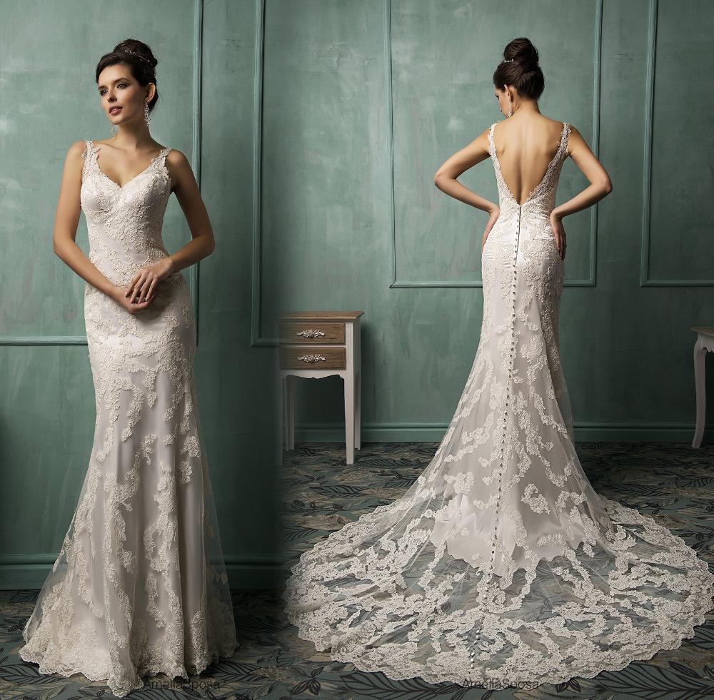 Spaghetti Strap Lace Mermaid Wedding Gowns: New Arrival Sexy Mermaid Wedding Dresses 2016 V Neck