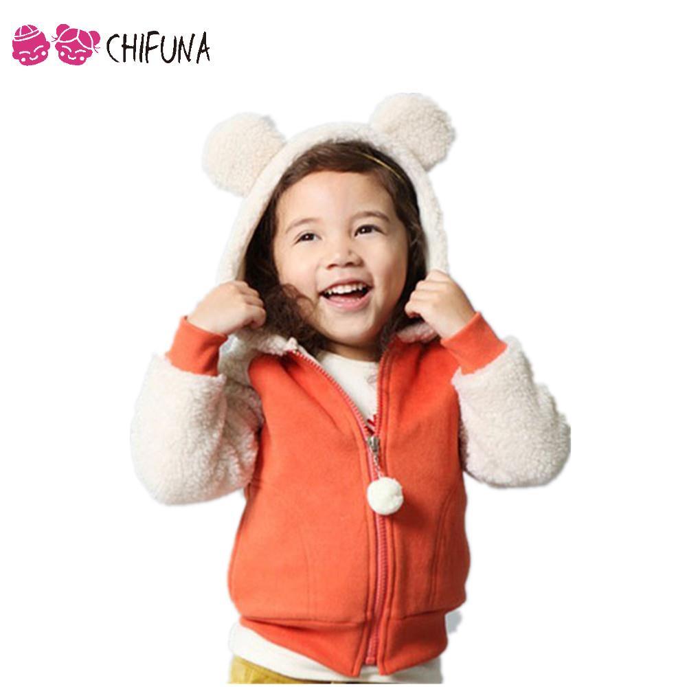 Autumn Winter Coat Boys Girls Casual Patchwork Hooded Jacket Children Outerwear Cute Warm Thick Fleece Kids