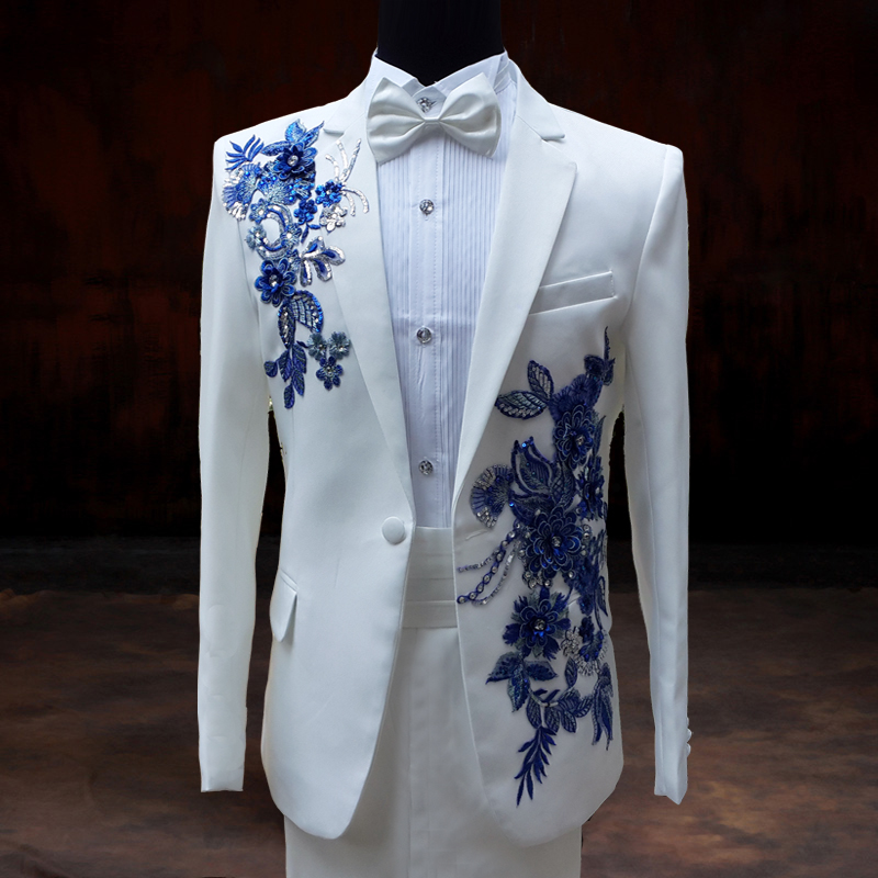 White Wedding Groom: 2015 Wedding Groom Dress Paillette Suits Clothes Male