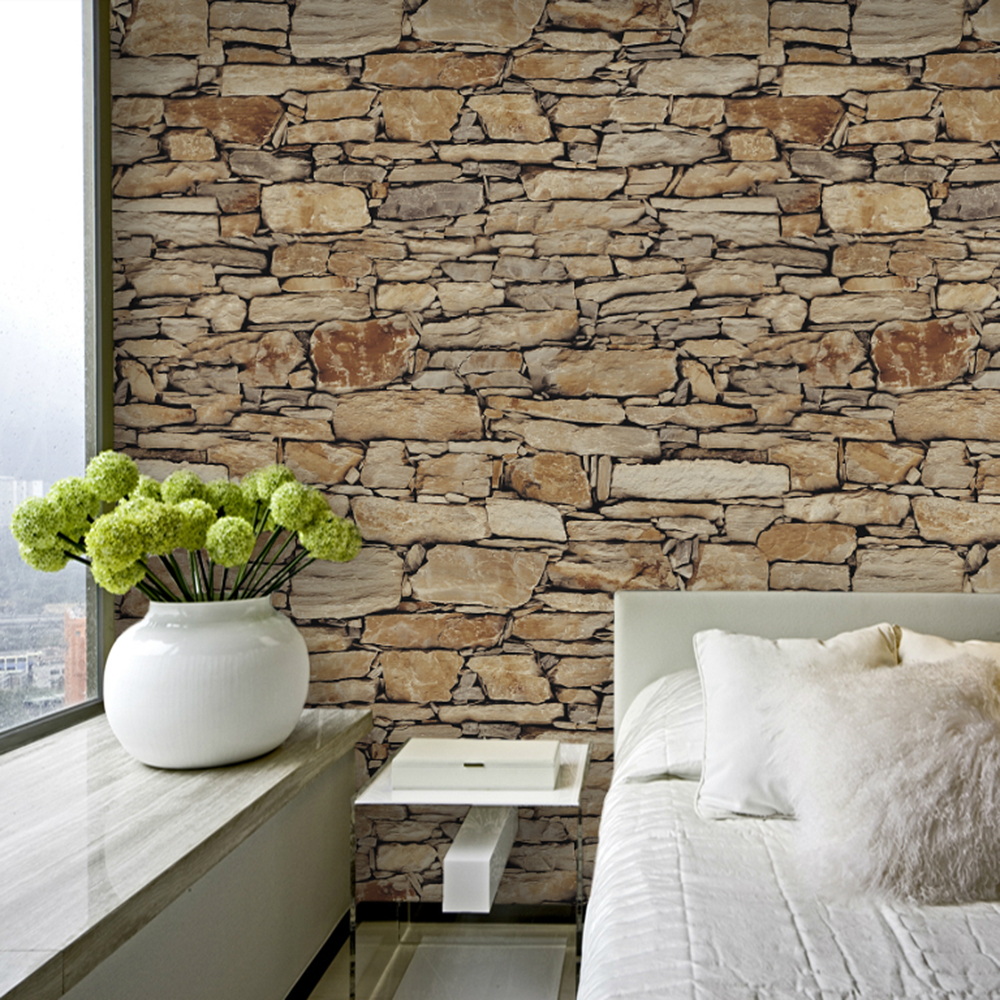 faux stone brick wallpaper - photo #10