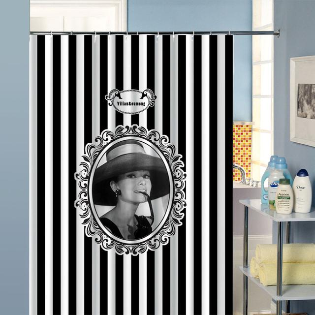 acheter rideau de douche salle de bains rideau audrey hepburn blanc et noir. Black Bedroom Furniture Sets. Home Design Ideas