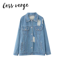 LESSVERGE Oeillet denim bleu veste manteau femmes 2017 automne hiver  Vintage bouton de base veste Lâche croix poche veste survêt. f7be6f2bfcc