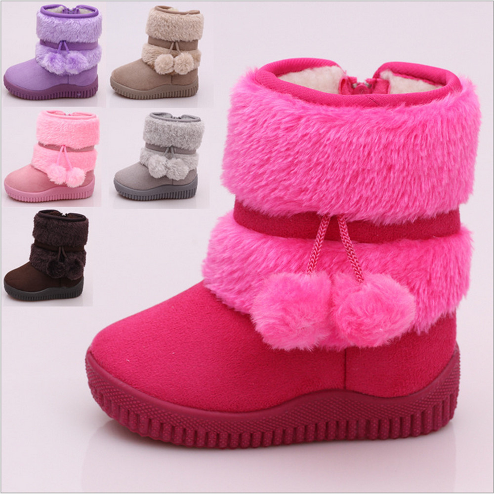Warm Baby Kid Girls Toddler Infant Winter Snow Boots Fur
