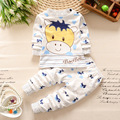 The new children s underwear suit small baby cows pattern round neck shoulder buckle cotton underwear