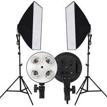 2015New product Photographic equipment photographic light four light studio softbox suit Russia free shipping 45in E27