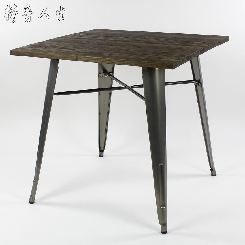 Antique Vintage Loft Industrial Style Square Table