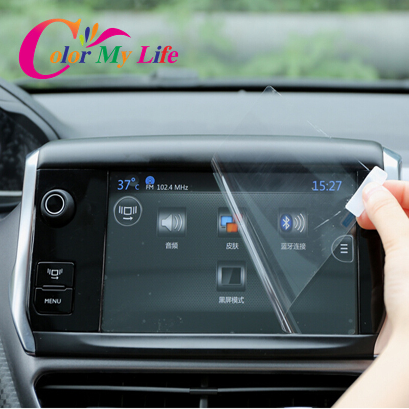 plastic car gps navigation screen film for peugeot 3008 408 508 dvd screen protective anti. Black Bedroom Furniture Sets. Home Design Ideas