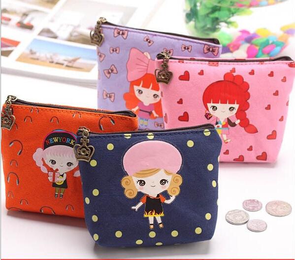 4 цвета корейский милый сладкий девочки брезент Mini монета портмоне карта бумажник молния ключ держатель сумки сумка