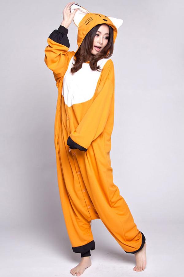 bc9c150edf89 Hot Orange Fox Cosplay Pajamas Onesies Women Men Cartoon Animal Cosplay  Costumes Pyajamas Adult Polar fleece Sleepwear Winter