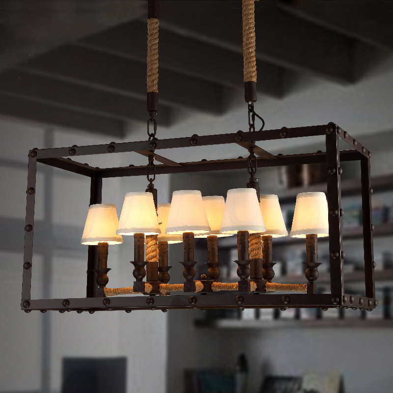 Industrial Lighting Ikea: Vintage Old Furniture Industrial Cloth Cover Chandelier