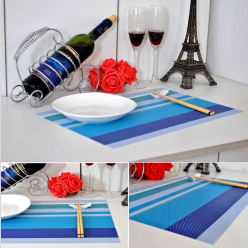 New Placemats Insulation Pvc Striped Western Pads Dining Table Mats Blue 2 pcs/ setHome Decoration