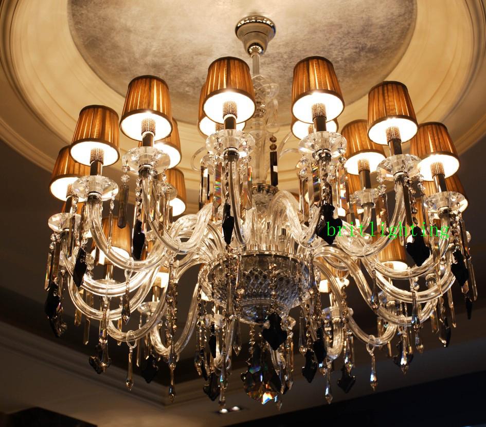 Hotel Lobby Luxury Chandelier Fabric Shade Crystal