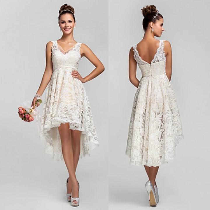 High Low Wedding Dress 2015 Lace V Neck Bride Dress Short