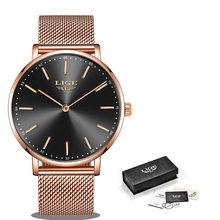 Женские кварцевые часы LIGE, розовое золото, деловые часы для девушек 2020(China)