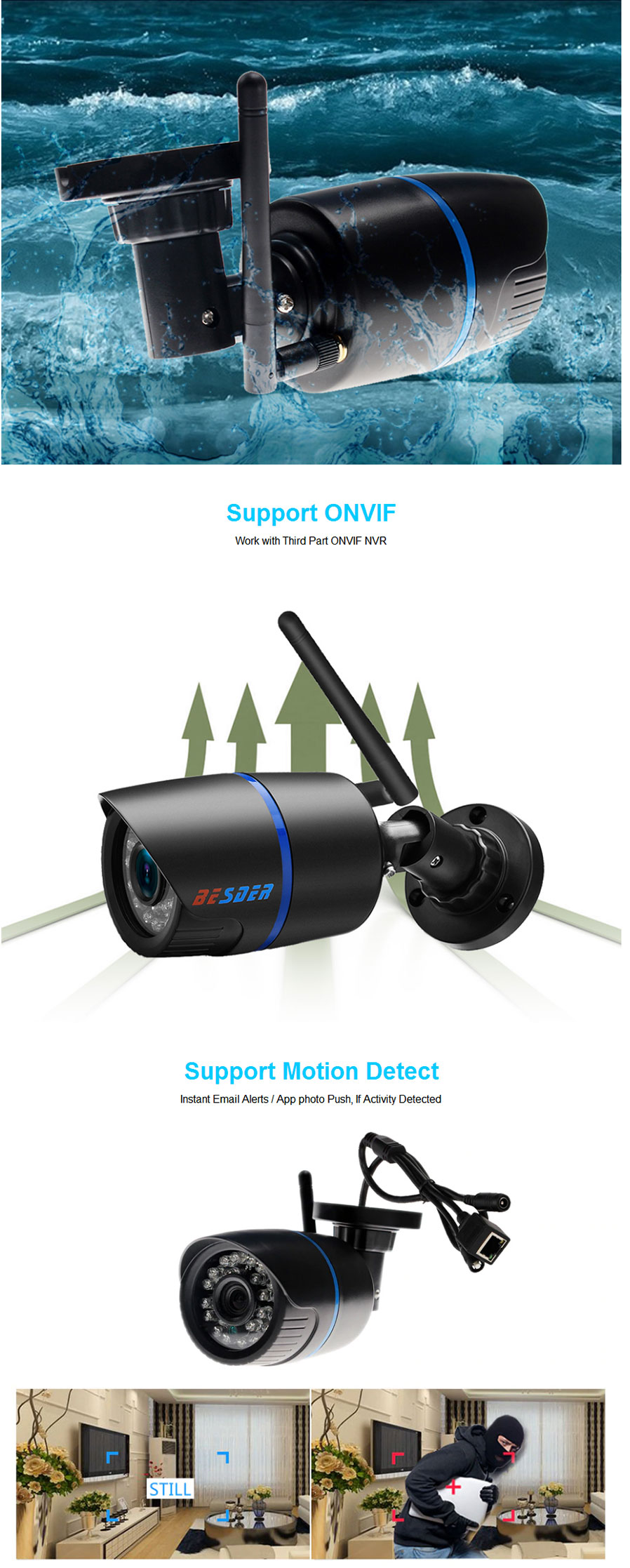 BESDER Yoosee IP Camera Wifi 1080P ONVIF Wireless Wired P2P CCTV Bullet  Outdoor Camera With Miscro SD Card Slot Max 64G 3 6mm