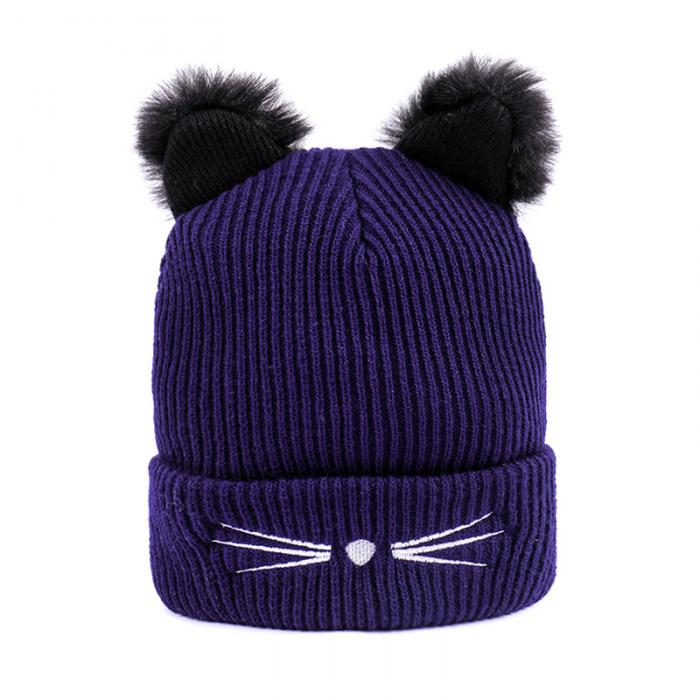 Großhandel Frauen Strickmütze Mütze Warme Katzenohren Häkeln