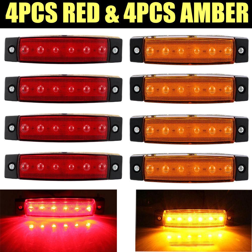 4 шт. красный + 4 шт. янтарный грузовик автобусы автомобильный прицеп боковые габаритные индикаторы свет лампы бесплатная доставка