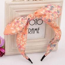 2016 Nova Floral Flores de Tecido Borboleta Arco Nó Hoop Cabelo Orelhas de Coelho Hairband Headband para Mulheres Headwear Acessórios Para o Cabelo